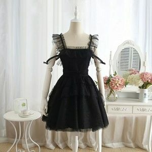 Black shoulder drop lace dress